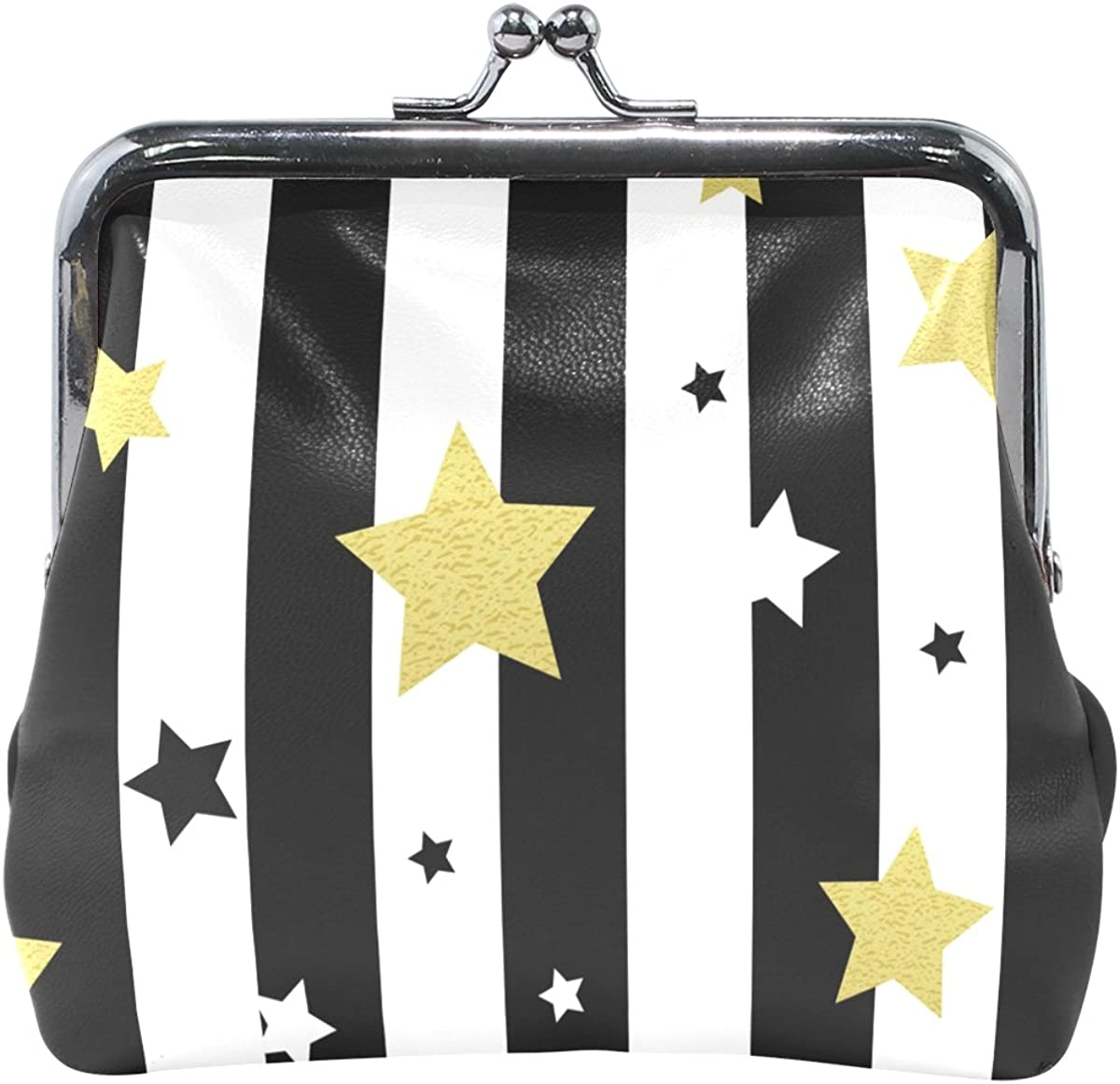MALPLENA Black White And Gold Stars Seamless Patterns change purse for women leather purse