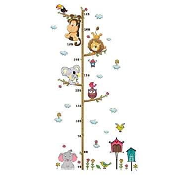 Hippo Kid/'s Room Decoration Wall Ruler for Boys and Girls iWrap Growth Chart Decal for Animal Lovers