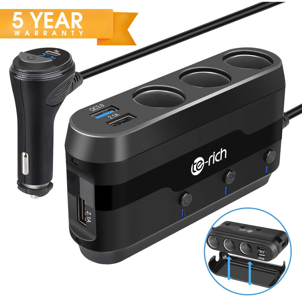 Te-Rich Quick Charge 3.0 & USB C 120W 3-Socket Cigarette Lighter Adapter, 12V/24V Car Power Outlet Splitter Multi Port USB Charger Compatible w/Nexus 6P, Pixel, Galaxy S9/S8/Note 8, iPhone X/8/8 Plus by Te-Rich