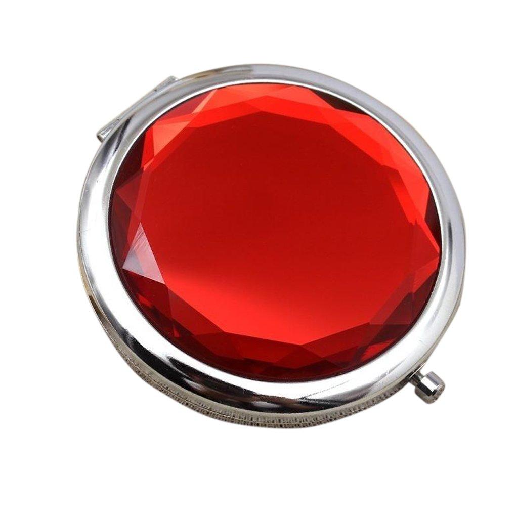 Mengonee Femmes Filles Cristal Mini Beauté Miroir de poche maquillage portable compact ronde pliant Miroir