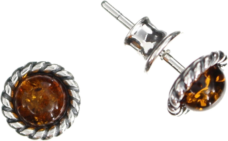 Pendientes con ámbar de Artisana-Schmuck, pequeños pendientes redondos de plata de ley 925/000.