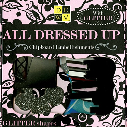 DCWV All Dressed Up Chipboard Embellishments Boxed, Glitter -