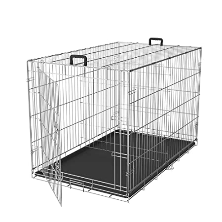 LEMKA Folding Dog Crate,Single Door Galvanized Never Paint Off Dog Crate Floor Protecting Feet Leak-Proof Dog Tray Compact Foldable Dog Wire Crate for Large Dogs 24 36 42 48