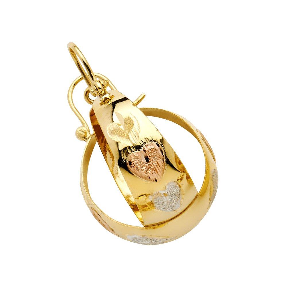 Ioka 14K Gold Heart Diamond Cut Graduated Hoop Shepherds Hook Earrings