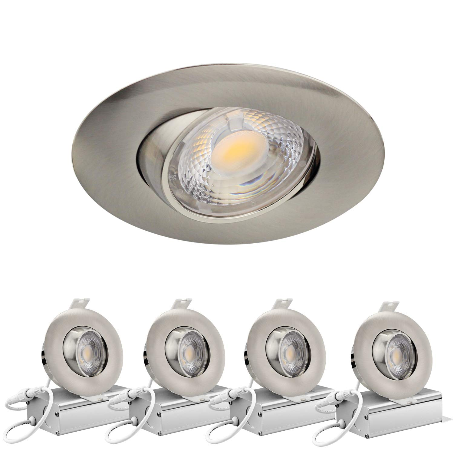 Led recessed light 3 inch 8w 700 lumens ic rated gimbal adjustable recessed led downlight energy star etl approved 4pack 3000k warm white brushed nickel