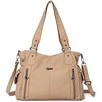 KL928 bolso mujer bolso mujer bolso mujer bolso bandolera Cuero de PU para mujer (black) (Apricot B)