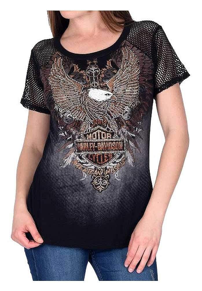 Harley-Davidson Womens American Muscle Art Embellished Fishnet Sleeves Top