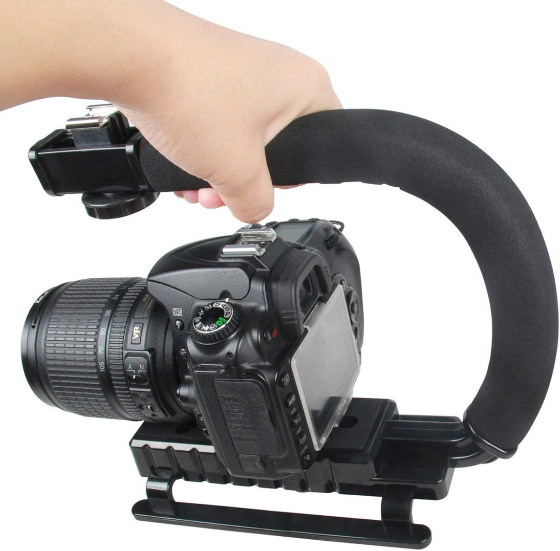 Zinniaya U Shape Portable Handheld DV Bracket Shotgun Microphone Kit with Cold Shoe Tripod Head for Home DV Camera