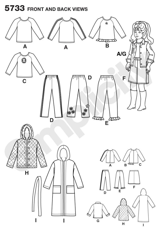 Simplicity 5733 - Patrones de costura para ropa de muñeca /(talla ...