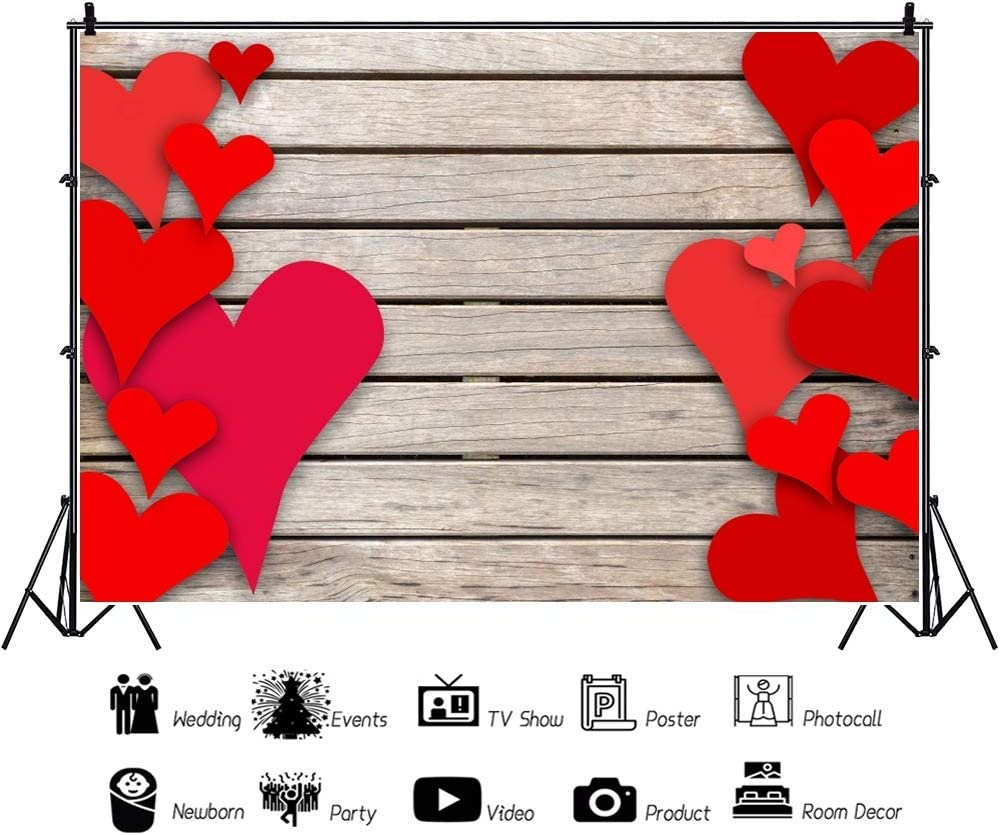 Red Heart Backdrop 10x7ft Wedding Ceremony Vinyl Photography Background Wooden Texture Board Plank Festive Greet Party Baby Shower Lover Newlyweds Studio Photo Prop Decor Wallpaper