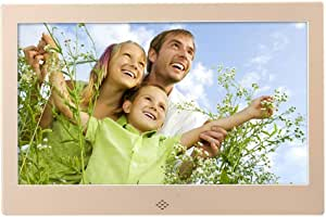 Digital Photo Frame,10 Inch LED Smart Digital Photo Frame WiFi Display MP3/MP4 Video Player 8GB Electronic Picture Album WithGold