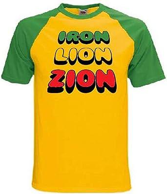 Diseño de León Zion de Hierro Reggae T-Camiseta de Manga ...