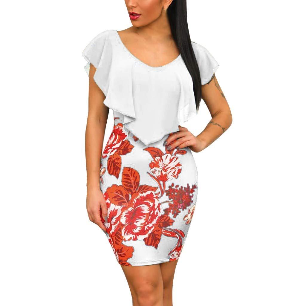 Dresses for Ladies Floral Print Sleeveless V-Neck Ruffles Bodycon Mini Dress (XXL, White)