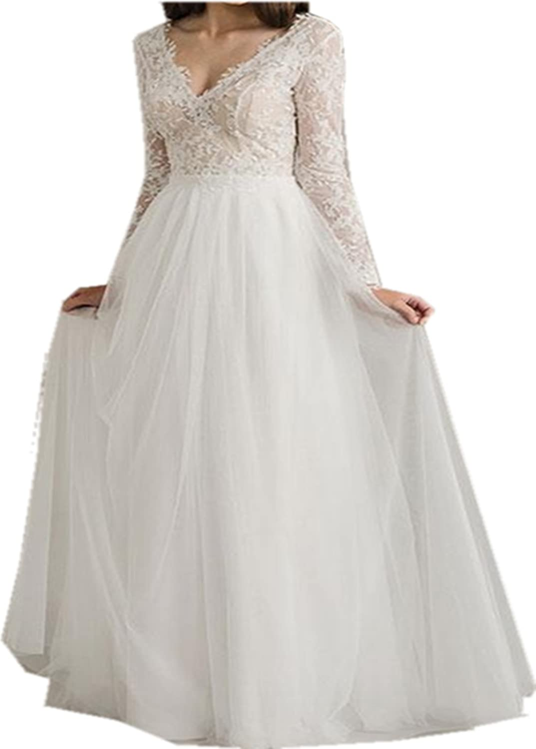 Muisal Women's Robe Vintage Western Country Lace A Line Ivory Wedding Dresses Long Sleeve with Lace Wedding Dress Evening Dresses