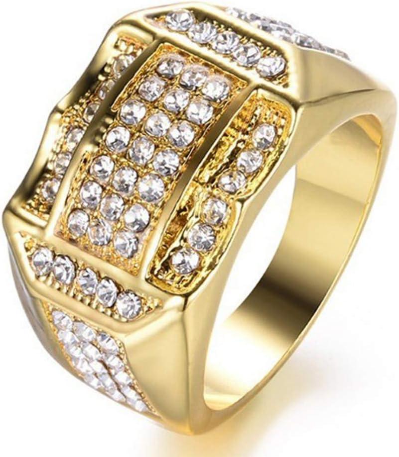 YOUNICER Anillo de Negocios para Hombres Anillo de Diamantes Anillos de Oro Anillos cJewelry Regalo
