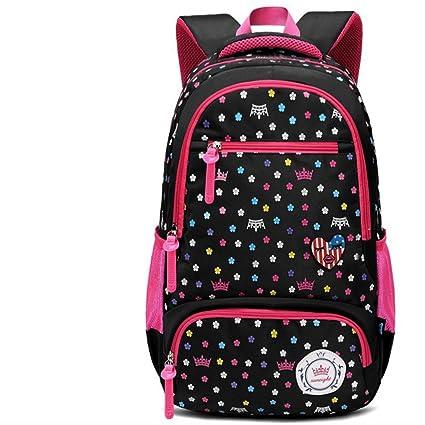 Mochilas escolares MinegRong chicas Chicas 6-12 niñas mochila,negro