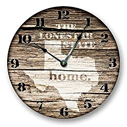 TEXAS STATE HOMELAND CLOCK -THE LONESTAR STATE - Large 10.5 Wall Clock - Printed Wood Image- TX_FT