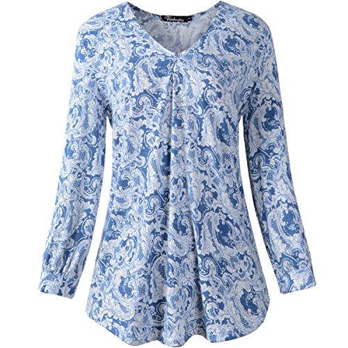 vanberfia Women's Casual V Neck 3/4 Sleeve Pleat Print Blouses Tops (L, 7613)