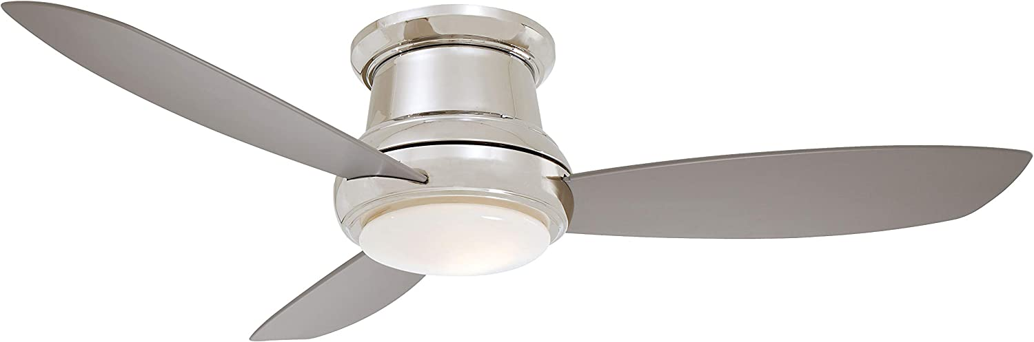 Minka-Aire F519L-PN Concept II 52 Inch Ceiling Fan Flush Mount Ceiling Fan with Integrated 14W LED Light in Polished Nickel Finish