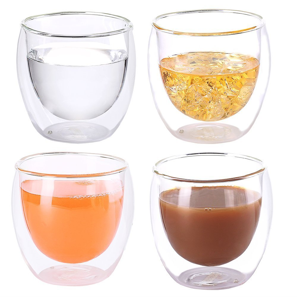 Heat Resistant Double-Wall Insulated Glass Espresso Mugs Latte Coffee Glasses/Whisky/coffee cup /Tea Mug - 250ml (9 oz),Set of 4