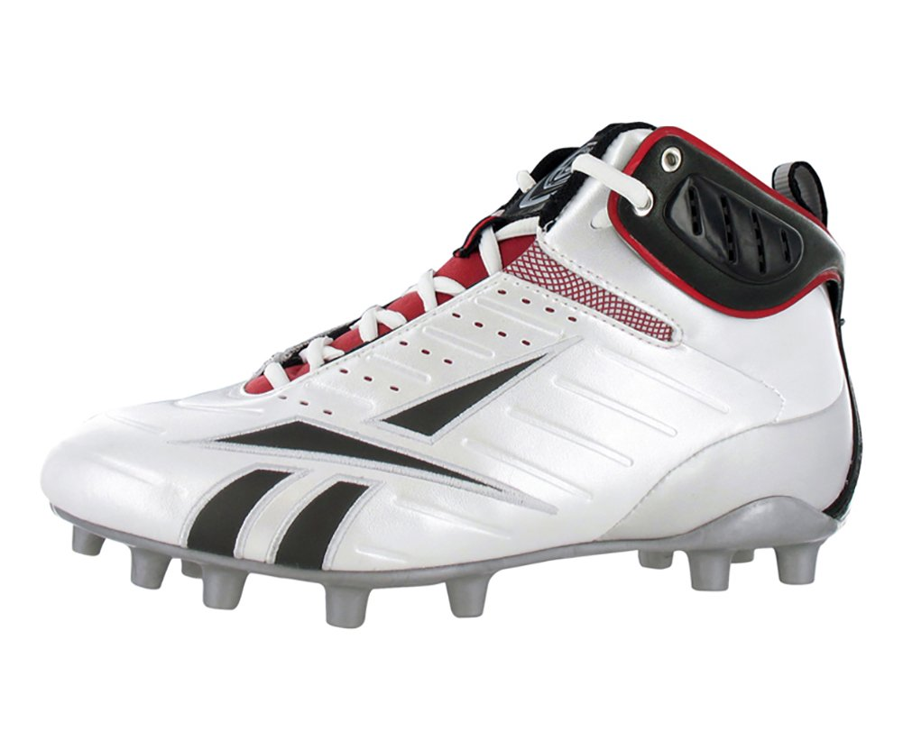 Reebok Men's Bulldodge Mid M2 III KFS Lacrosse Shoe,White/Black/Silver/Red,10 M US