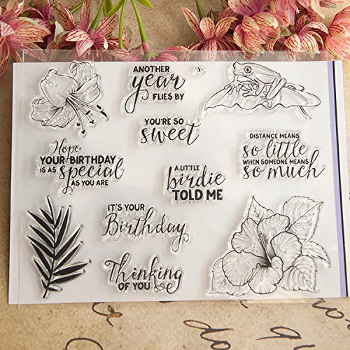 DadaCrafts(TM) Sentiments Frog Flower DIY Clear Stamps For Card Making Scrapbooking and 2 Sheets - Sentiments Clear Acrylic Stamps