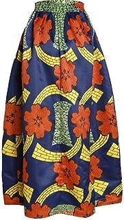 HEHEAB Falda Dividir La Falda Falda Larga Mujer Primavera Verano Moda Bohemian Columpio Grande Impresión Africana Faldas Cintura Elástica Casual Maxi Longitud Piso Falda
