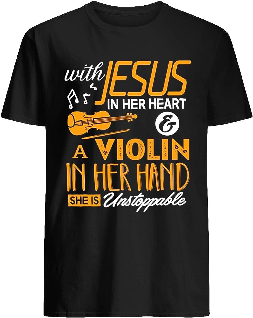 con Jesús en su corazón un violín en su mano ella es imparable camiseta