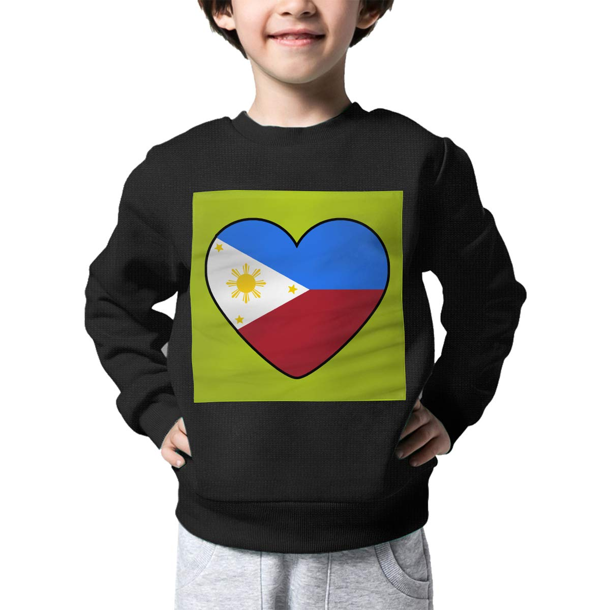 AW-KOCP Childrens Philippines Flag Heart99 Sweater Boys Girls Printed Sweater