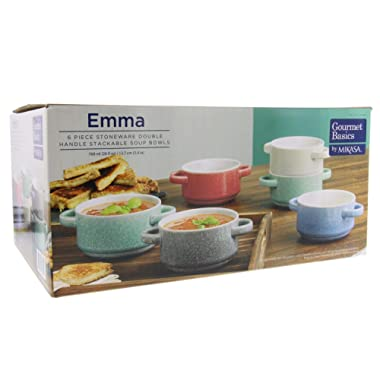Gourmet Basics Emma by Mikasa - Double Handle Stackable Bowls w/Durable Stoneware & Speckled Glaze Finish–Microwave & Dishwasher Safe–Great for Soups, Chili, Stews, Side Dishes, 26oz, Set of 6