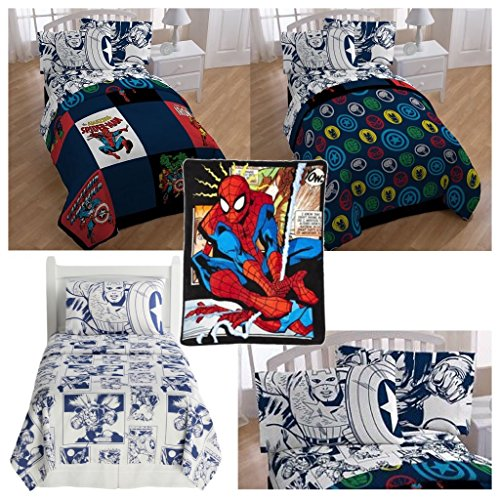 Marvel Heroes 6 Piece Kids Full Bed Set - Reversible Comforter, Sheet Set with 2 Reversible Pillowcases and Spiderman Comic Plush Throw Blanket