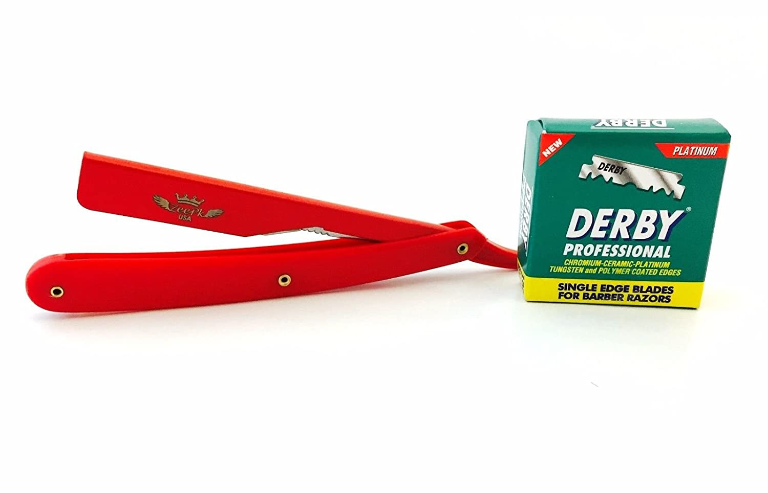 Zeepk All Red Salon Barber Men's Cut Throat Straight Shaving Razor Rasoir Rasoi, 100 Derby Single Edge Blades