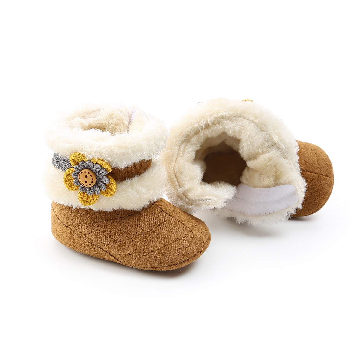 Tcesud Winter Warm Baby Boys Girls Snow Boots Soft Sole Fur Infant Toddler Slip On Bowknot Booties for Baby Girls 0-18 Months