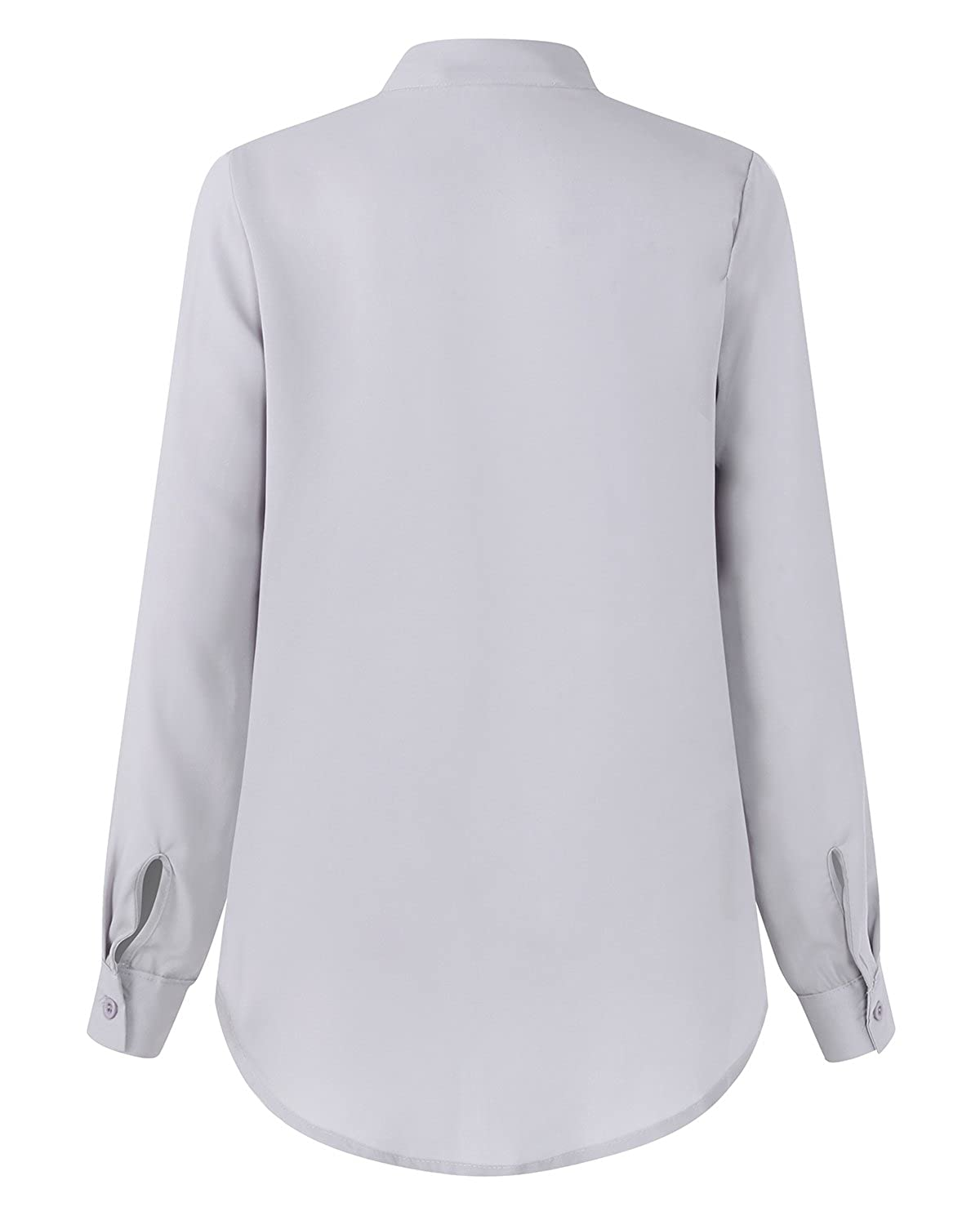 Auxo Women Long Sleeve Blouse Chiffon Shirt Tie Front Tunic Top Casual Solid Color Loose Tops