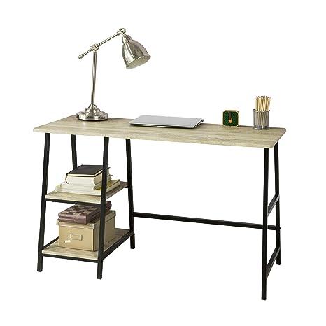 SoBuy Scrivania 120 cm, scrivania con libreria,Tavolo pc,in ...