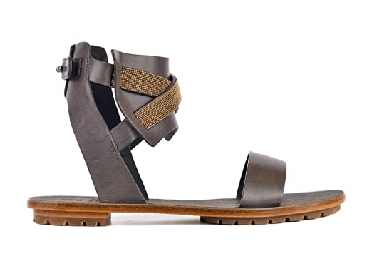 84a4abc9aa0c Brunello Cucinelli Womens Grey Gold Monili Ankle Cuff Sandals IT37 US7~RTL   995