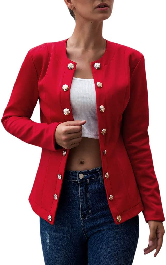 TIMEMEANS Blazers for Women Long Sleeve Open Front Short Cardigan Suit Jacket Work Office Coat Top