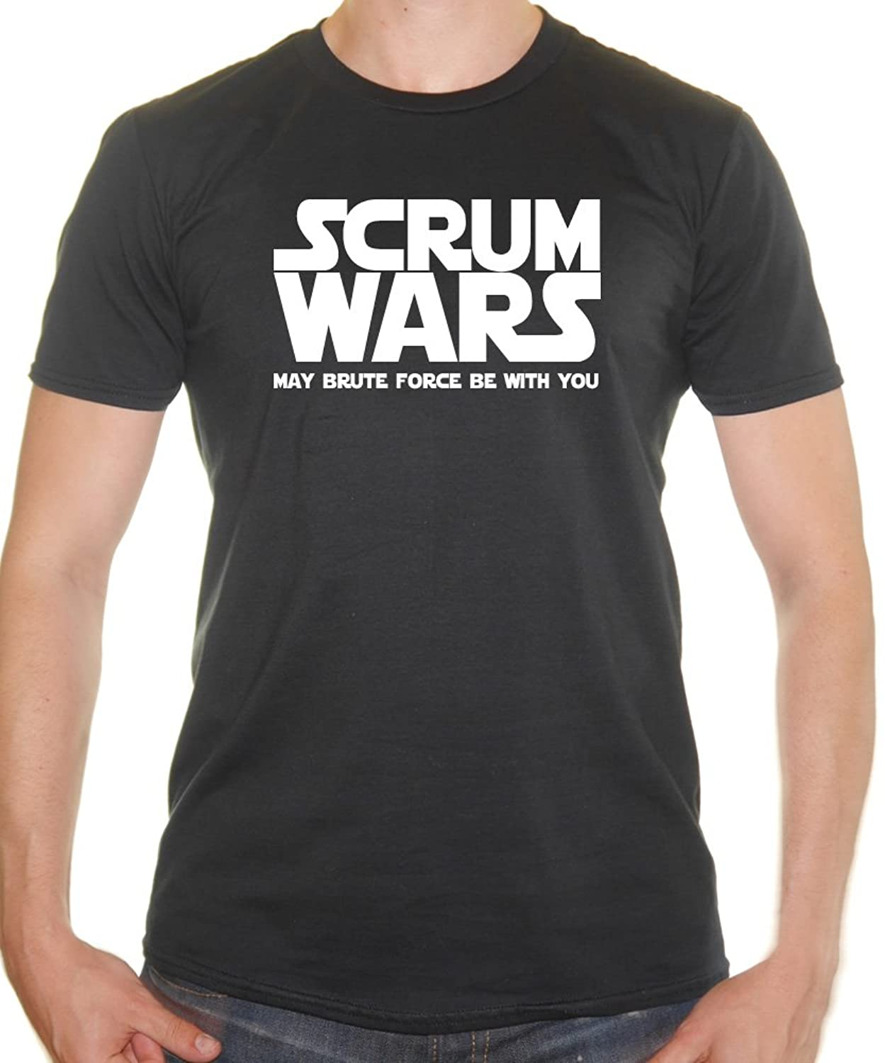 Scrum Wars - May The Brute Force Be With You - Rugby Funny Mens T ...