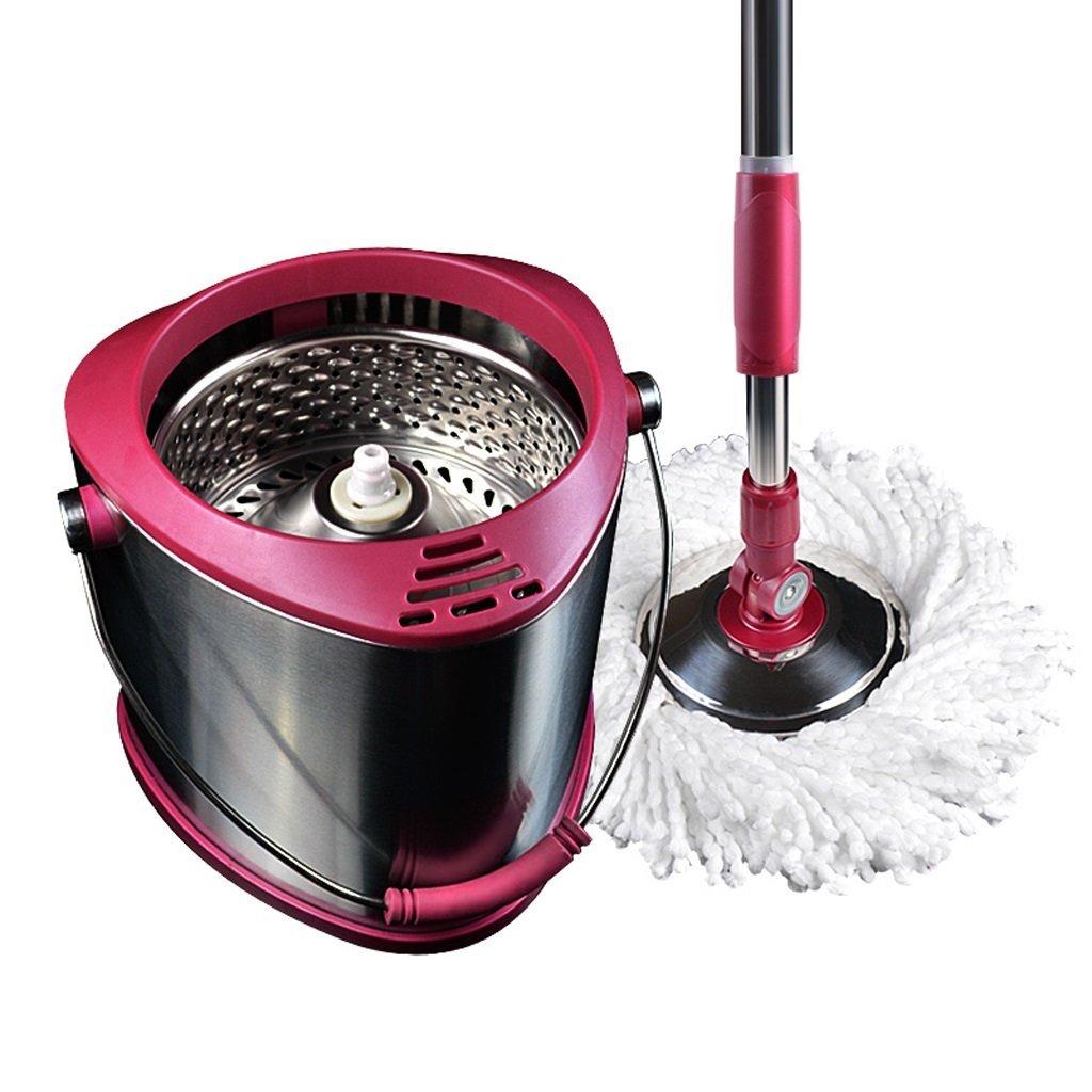 家庭用ステンレススチール自動乾燥モップバケット2頭 (色 : ローズレッド) B07G35LN1L ローズレッド