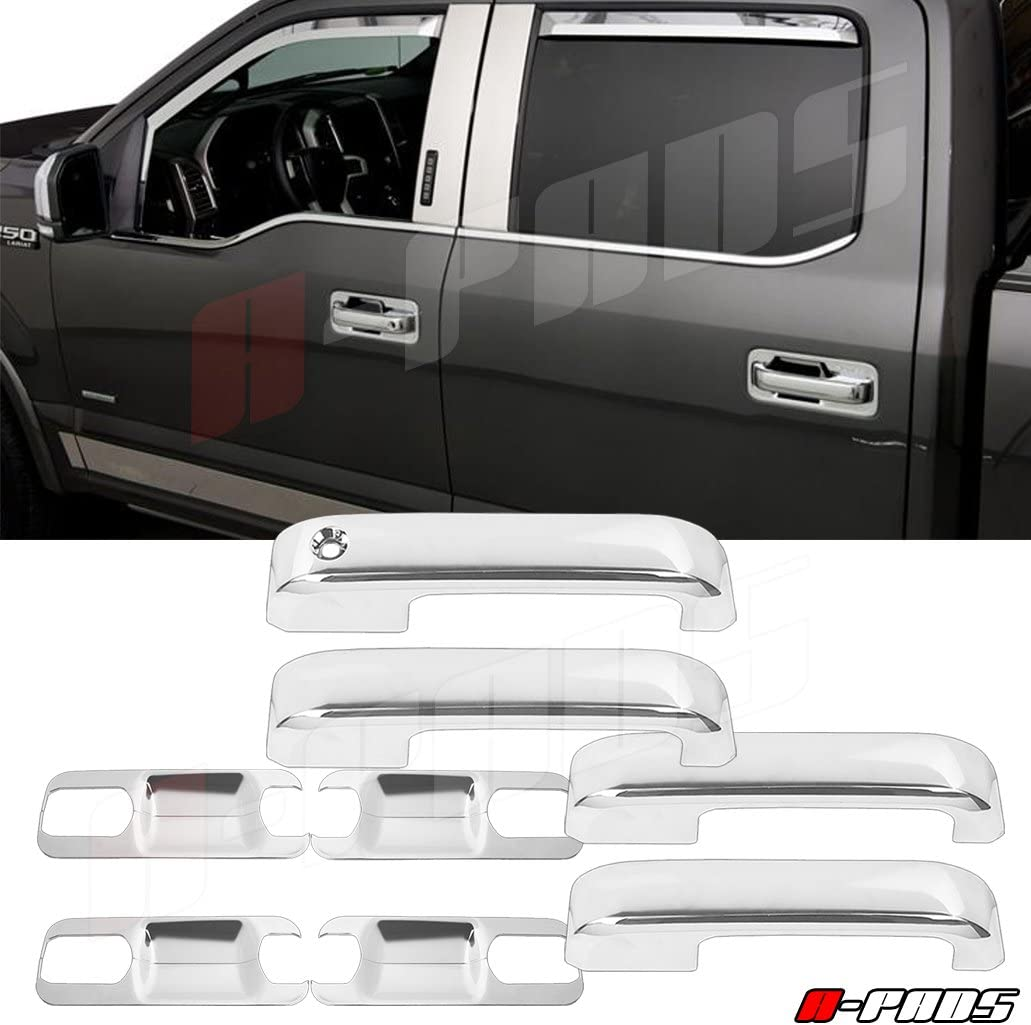 A-PADS Chrome Cover for 2017-2018 Ford F250 F350 F450 Top Half Mirror Cover Back Plate 4 Door Handles Without Smart Keyhole