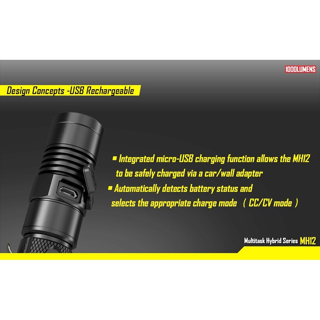 Nitecore MH12 USB Rechargeable Flashlight CREE XM-L2 U2 1000 Lumens 253 Yard Beam Distance 520 Hours Runtime Portable Tactical Flashlight Waterproof Compact Searchlight With NL188 3200mAh 18650 Battery