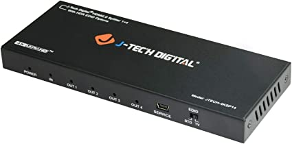 JTECH-4KSP14 Supports 3D and VESA Video formats HDMI Splitter 1 in 4 Out 18Gbps 4K@60Hz HDR10 by J-Tech Digital HDMI 2.0b HDCP 2.2 Compliant with Smart EDID Control