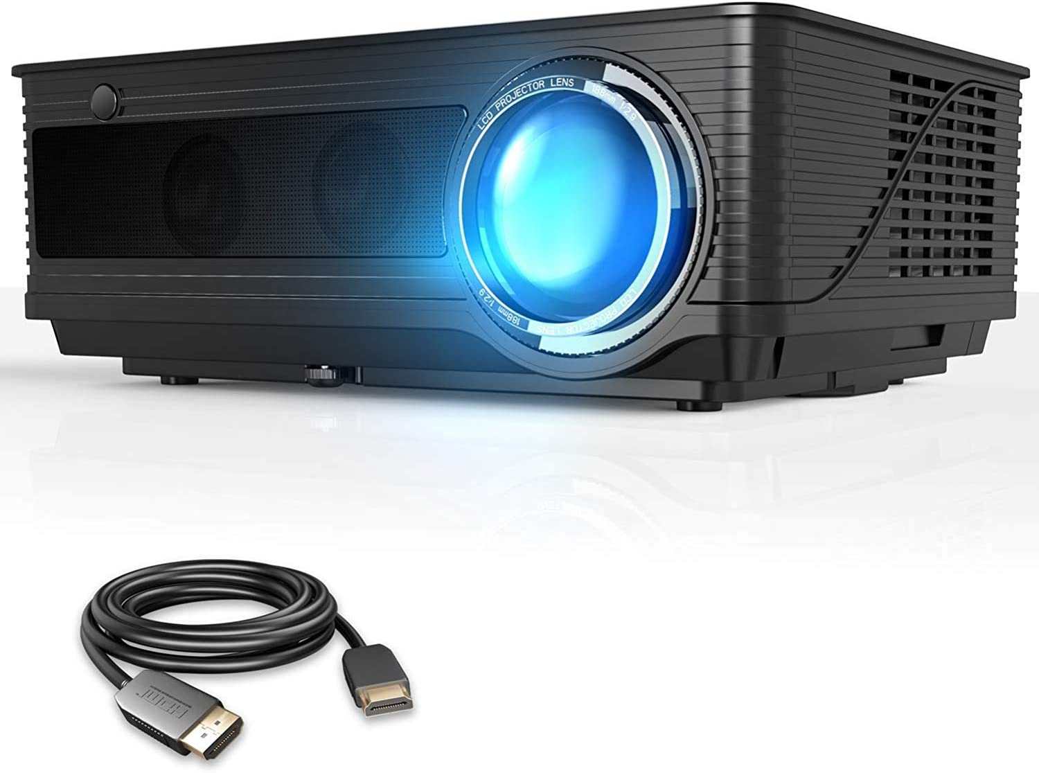 """VIVIMAGE Cinemoon 580 Projector1080P Supported, 4000 Lux High Brightness Video Projector with 200"""" Projection Size Includes HDMI Cable"""