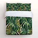 Libaoge 4 Piece Bed Sheets Set, Green Tropical Palm leaves Print, 1 Flat Sheet 1 Duvet Cover and 2 Pillow Cases