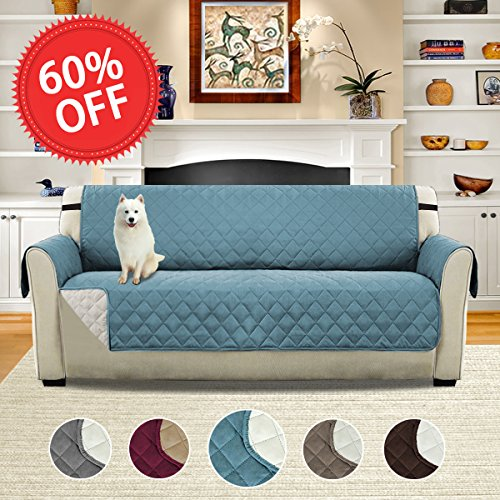 H.VERSAILTEX Reversible Elastic Straps Furniture Protector, Soft and Suede-Like Finish Crafted Sofa Protector/Slipcovers Stay in Place, 75 inch X 110 inch (Smoke Blue/Beige) Contemporary Suede Sofa