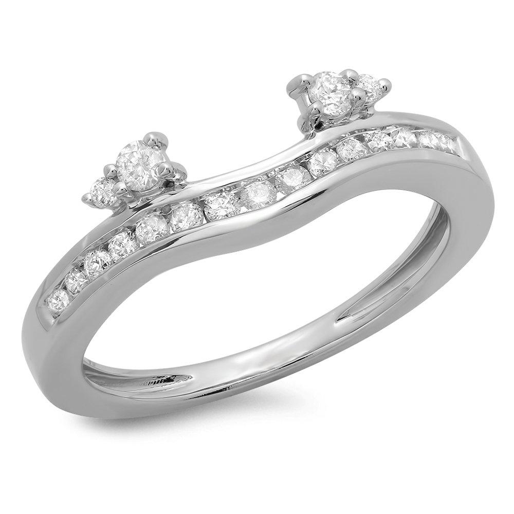 0.40 Carat (ctw) 14K White Gold Round Diamond Ladies Anniversary Wedding Enhancer Guard Band (Size 7)
