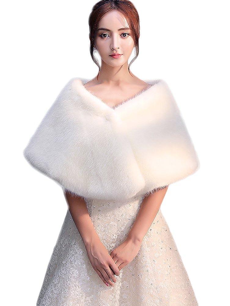 Icegrey Donna Morbido Coprispalle Con Colletto Nuziale Stile Bolerino da Sposa in Ecopelliccia Scialle Per Feste Matrimoni ICG-MAIS-MPJ170842-1