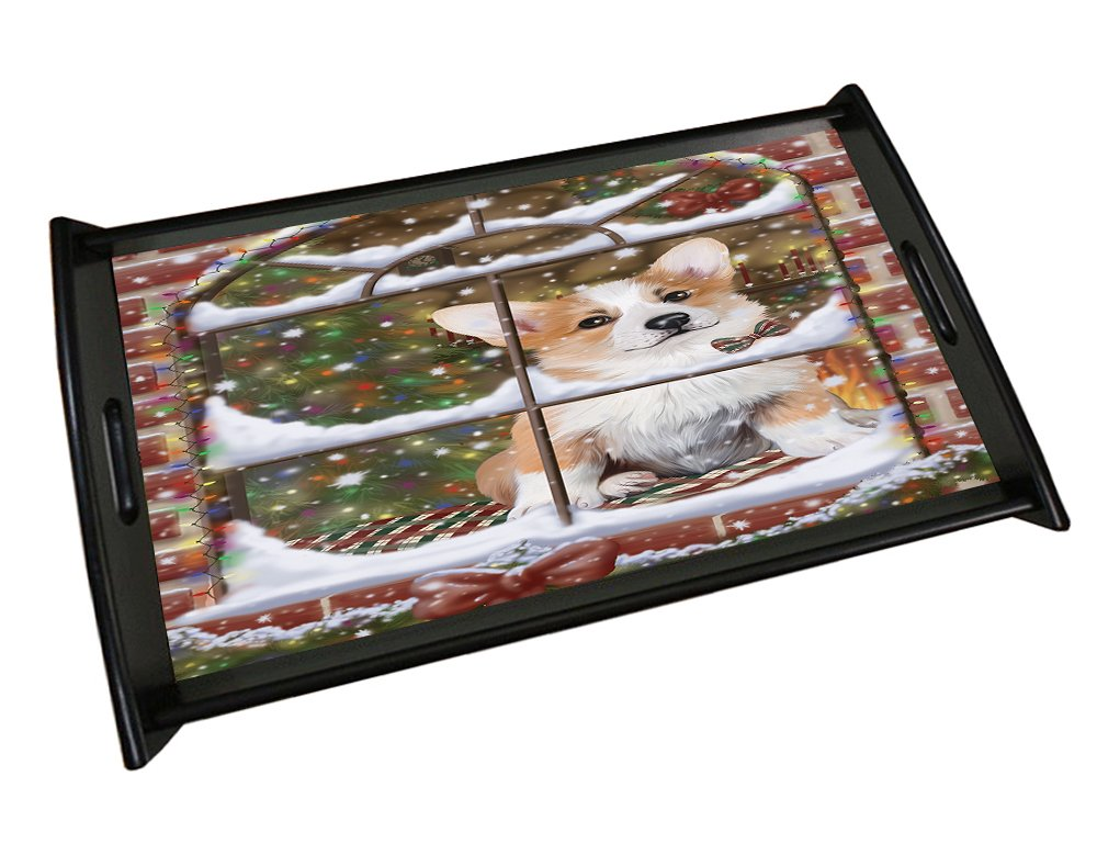 Please Come Home For Christmas Corgis Sitting In Window Black Wood Serving Tray