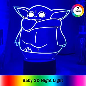 Baby 3D Night Light,Baby Yoda 7 Color Change Decor Lamp, Toys and Gifts for Boys Girls (C)