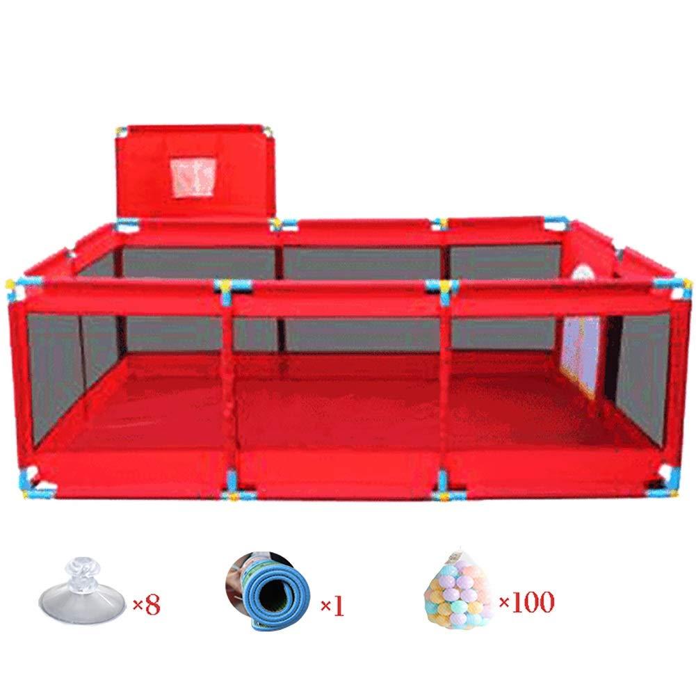 ベビーフェンス バスケットボールネット、マット、ボール、幼児用ポータブルプレイヤード、子供用ゲームフェンス、赤   B07P74NMXN